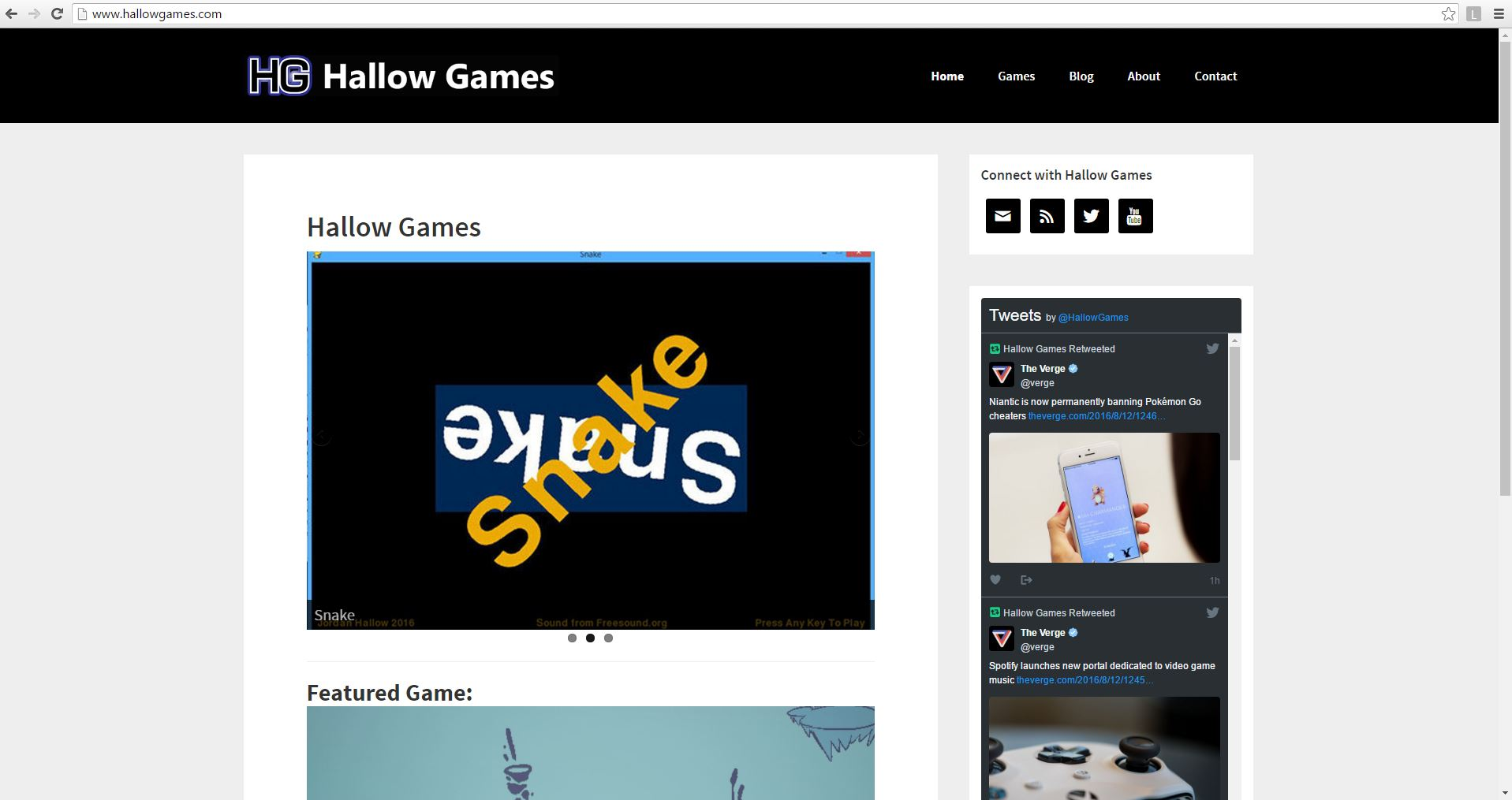 Hallow Games homepage
